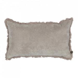 Perna decorativa dreptunghiulara gri din catifea 30x50 cm Trim Be Pure Home