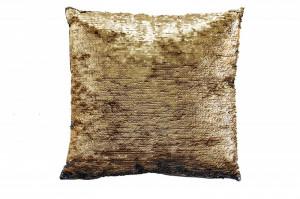 Perna decorativa patrata aurie/neagra din poliester 40x40 cm Amber Invicta Interior