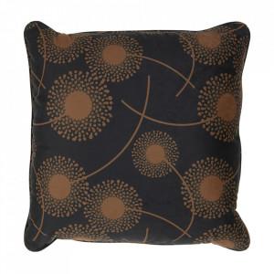 Perna decorativa patrata maro/neagra din poliester 50x50 cm Vers Rocco Woood