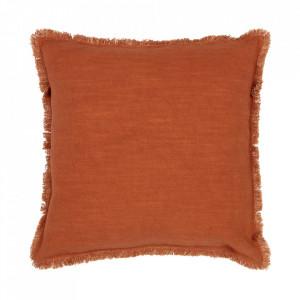 Perna decorativa patrata maro teracota din bumbac 45x45 cm Tassel Be Pure Home