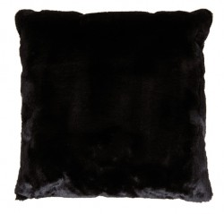 Perna decorativa patrata neagra din poliester 50x50 cm Lyall Fur LifeStyle Home Collection