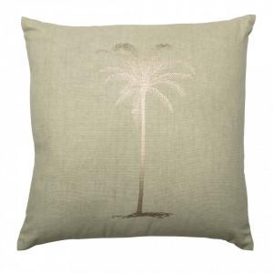 Perna decorativa patrata verde din bumbac 45x45 cm Palm Bloomingville