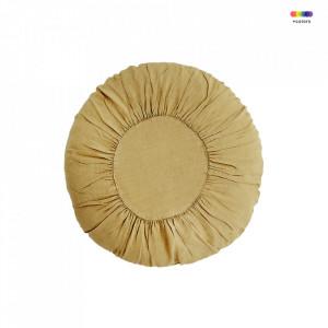 Perna decorativa rotunda galbena din in si fibre 60 cm Round Cushion Tapenade Madam Stoltz
