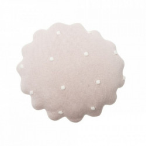 Perna decorativa rotunda roz din bumbac pentru copii 25x25 cm Round Biscuit Pink Lorena Canals