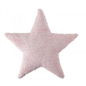 Perna decorativa roz din bumbac pentru copii 54x54 cm Star Pink Lorena Canals