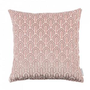 Perna decorativa roz din viscoza si poliester 45x45 cm Beverly Zuiver
