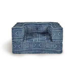 Perna modulara de podea patrata albastra din bumbac 80x80 cm Rio Giner y Colomer