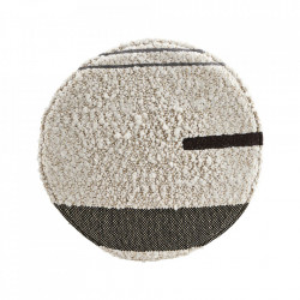Perna sezut rotunda alba din bumbac si fibre acrilice 38 cm Rampur House Doctor