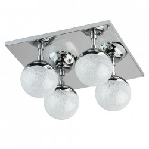 Plafoniera argintie din metal si sticla cu 4 LED-uri Kasper MW Glasberg
