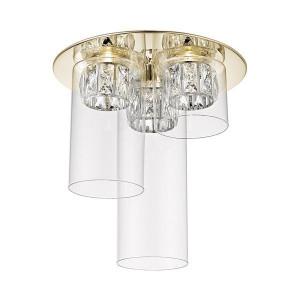 Plafoniera aurie/transparenta din metal si sticla cu 3 LED-uri Gem Zuma Line