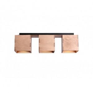 Plafoniera maro din metal si lemn cu 3 becuri Bit Aldex
