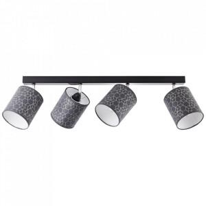 Plafoniera neagra din textil si metal cu 4 becuri Galance Brilliant