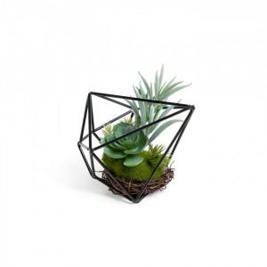 Planta artificiala cu ghiveci din metal 12 cm Zelena Aeonium La Forma