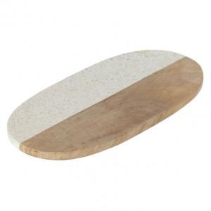 Platou alb/maro din marmura si lemn de mango 20x40 cm Augustine Kave Home