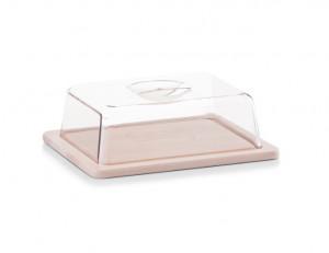 Platou cu capac maro/transparent din lemn si plastic 20x25 cm Cheese Zeller