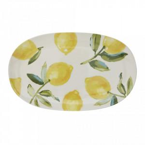Platou multicolor din ceramica 23x38,5 cm Lemons Creative Collection