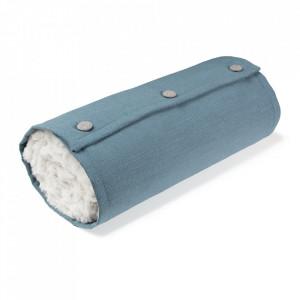 Pled alb/albastru din poliester 120x170 cm Wrap La Forma