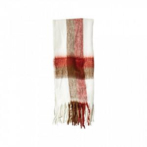 Pled crem/rosu din fibre acrilice 130x150 cm Ronda Creative Collection