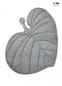 Pled gri din bumbac organic pentru copii 110x125 cm Leaf Nofred