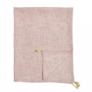 Pled roz din bumbac 80x100 cm Rona Bloomingville Mini