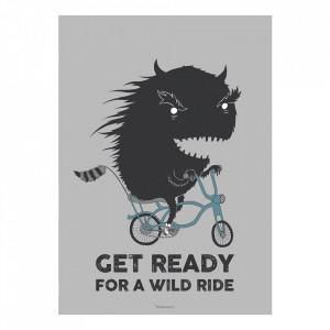 Poster gri din hartie 50x70 cm Wild Ride Bloomingville