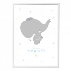 Poster multicolor din hartie 50x70 cm Elephant A Little Lovely Company