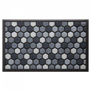 Pres dreptunghiular gri din poliamida si cauciuc pentru intrare 45x75 cm Hexagon Lako
