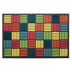 Pres dreptunghiular multicolor din poliamida si cauciuc pentru intrare 60x90 cm Grafik Lako