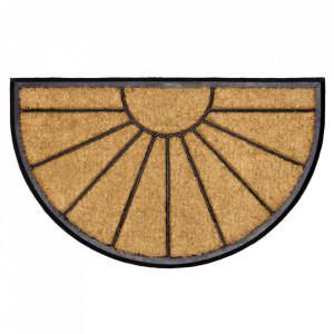 Pres oval maro din fibre de cocos pentru intrare 45x75 cm Sonne Lako