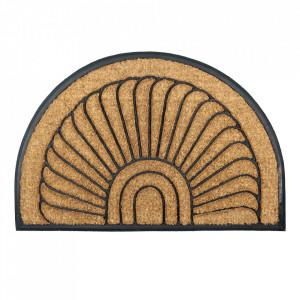 Pres oval maro din fibre de cocos pentru intrare 60x90 cm Mambo Lako