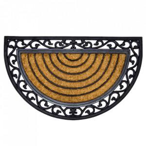 Pres oval maro/negru din fibre de cocos si cauciuc pentru intrare 45x75 cm Rumba Lako