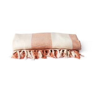 Prosop alb/roz piersica din bumbac pentru plaja 200x200 cm Royce HK Living