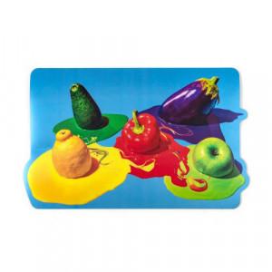 Protectie masa dreptunghiulara multicolora din polipropilena si pluta 30x48 cm Vegetables Toiletpaper Seletti