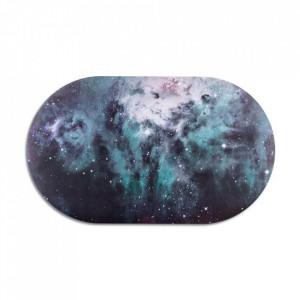 Protectie masa ovala multicolora din polipropilena si pluta 30x50 cm Nebulosa Cosmic Diner Seletti
