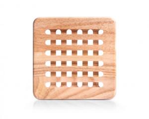 Protectie masa patrata maro din lemn de fag 20x20 cm Beech Protection Zeller