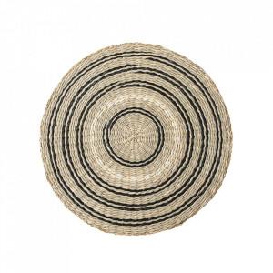 Protectie masa rotunda maro/neagra din iarba de mare 38 cm Nature Bloomingville