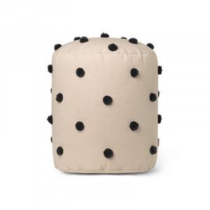 Puf rotund bej/negru din bumbac 39 cm Dot Tufted Ferm Living
