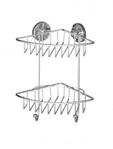 Raft argintiu din inox 22,5x29,5 cm pentru baie Vacuum-Loc Corner Bari Two Floors Wenko