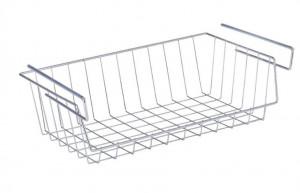 Raft argintiu din metal 44 cm pentru bucatarie Under Shelf Basket Wenko