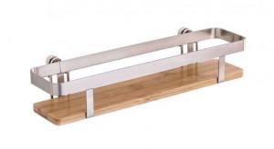 Raft argintiu/maro din metal si lemn 30 cm Premium Spice Rack Wenko