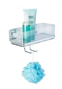 Raft argintiu/transparent din inox si plastic 15x25,5 cm pentru baie Vacuum-Loc Shelf Quadro Hook Wenko