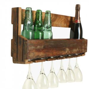 Raft cu suport pentru pahare maro din lemn reciclat 60 cm Wine Raw Materials