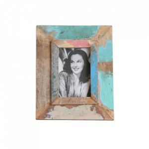 Rama foto dreptunghiulara multicolora din lemn 20x25 cm Scrapwood Raw Materials