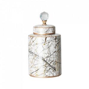 Recipient cu capac auriu/alb din ceramica 18x34 cm Georgie Vical Home