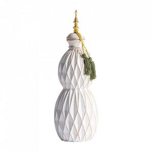 Recipient cu capac gri/auriu din ceramica 16x48 cm Mehmet Vical Home
