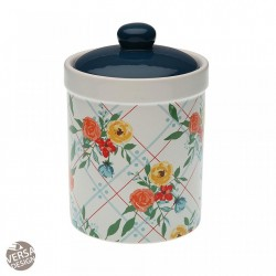 Recipient cu capac multicolor din ceramica 12x17,1 cm Kitchen Pot Fiori Viva Maxi Versa Home