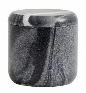 Recipient cu capac negru/gri din marmura 10x10 cm Black Marble Jar Nordal