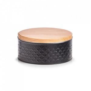 Recipient cu capac negru/maro din metal 9,3x20 cm Scandi Zeller