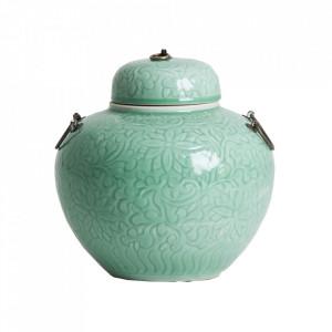 Recipient cu capac turcoaz din ceramica 30x30 cm Hades Vical Home