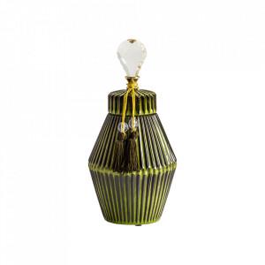 Recipient cu capac verde din ceramica 17x35 cm Dyna Vical Home